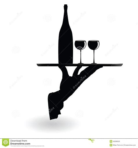 skull wine glasses waiter carrying wine glasses on the tray black silhouette