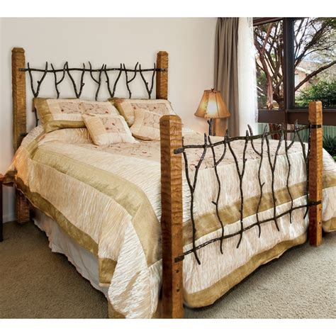Rustic South Fork Wrought Iron And Wood Bed  Queen Or King