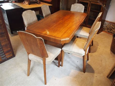 antique dining table and chairs dining table and chairs art deco walnut c1925 antiques atlas