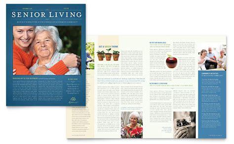 senior living community tri fold brochure template design