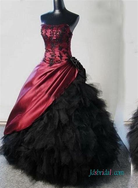 Gothic Burgundy And Black Ball Gown Wedding Dress In 2019