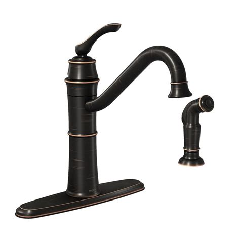 moen bronze kitchen faucet moen 87999brb mediterranean bronze high arc kitchen faucet with side spray from the wetherly