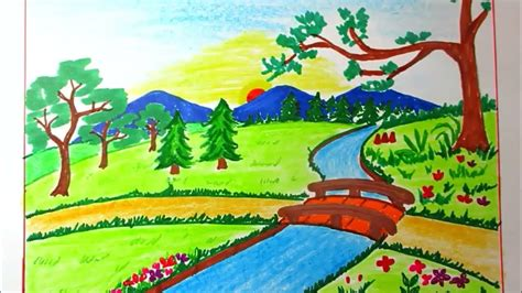 drawing landscape  mountain  river  kids scenery