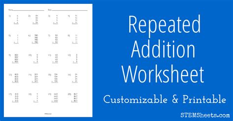 worksheets for multiplication as repeated addition