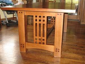 Arts crafts inspired dining table finewoodworking for Arts and crafts dining room furniture
