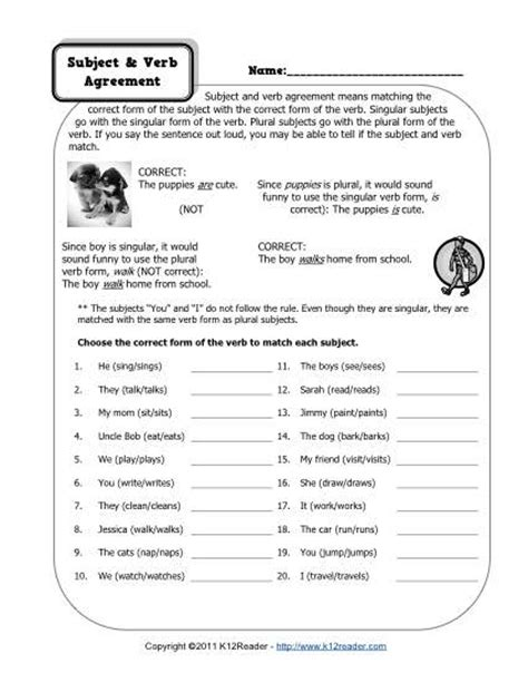18 Best Images Of Subject Verb Worksheets 2nd Grade  Subject Verb Agreement Worksheets 3rd
