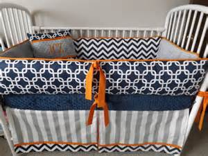 baby boy bedding crib sets navy chevron gray orange bumper