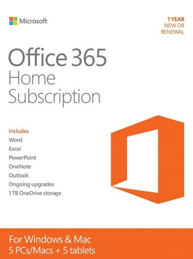 Office 365 Year by Buy Microsoft Office 365 Home 5 Devices 1 Year Pc