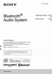 Notice Sony Mex-bt3100p