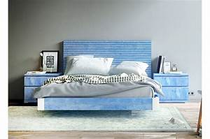 Tete De Lit Bleu : lit bleu 160x200 t te de lit chevets baix 107 cbc ~ Premium-room.com Idées de Décoration