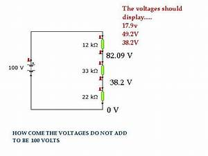 Yenka Simple Series Circuit Voltage Diagram  Voltages Calculated Problem