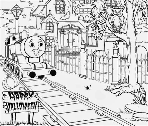 haunted thomas  train halloween coloring pages