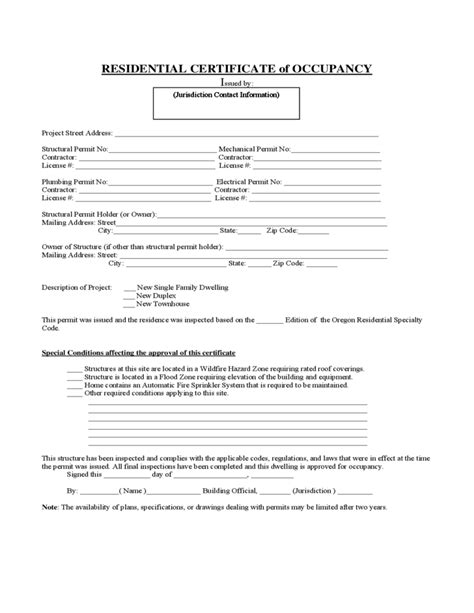 certificate  occupancy residential form  format