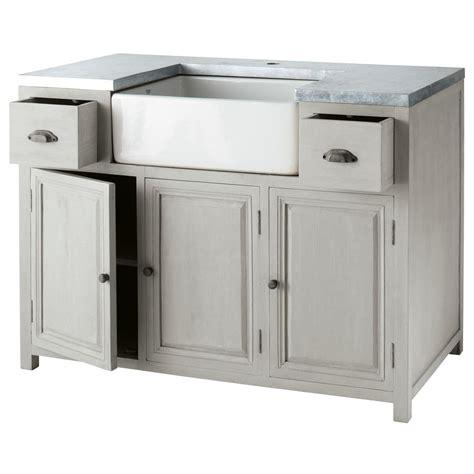 cuisine zinc maison du monde meuble bas de cuisine avec évier en bois d 39 acacia gris l