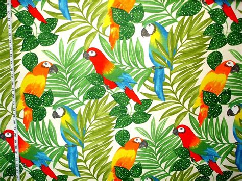 Stoff Dschungel Motiv by Parrot Fabric Tropical Jungle Bright From Brick House