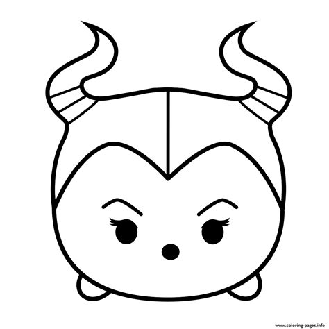 Coloring Tsum Tsum by Maleficent Tsum Tsum Coloring Pages Printable