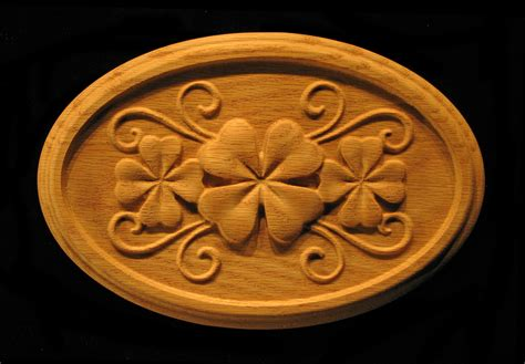 onlay shamrock clover  oval carved wood