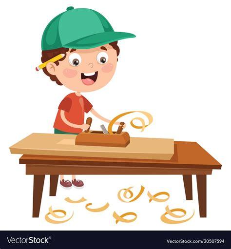 carpenter working  woods vector image  vectorstock