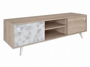 Meuble Tv Led Conforama : meuble tv slide coloris ch ne shannon vente de meuble tv ~ Dailycaller-alerts.com Idées de Décoration