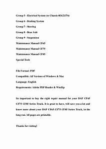 Daf Cf65 Cf75 Cf85 Series Truck Service Repair Workshop
