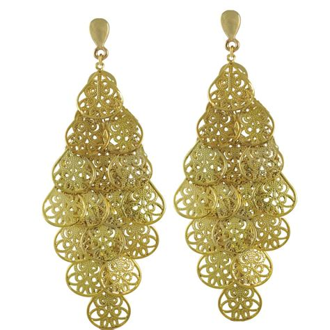 filigrana gold chandelier clip on earrings