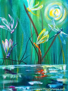 Dancing with Dragonflies easy acrylic painting tutorial ...