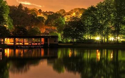 Reflection Trees Lake Lights Desktop Backgrounds Wallpapers