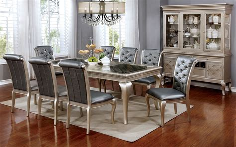 Amina CM3219 Dining Table in Champagne w/Options