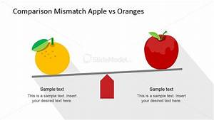 Flat Orange And Apple Comparison Scene For Powerpoint