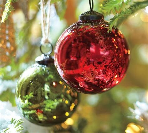 red green mercury glass ball ornaments set of 6 pottery barn