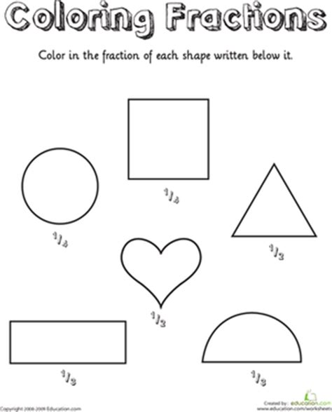 coloring shapes fractions worksheet education
