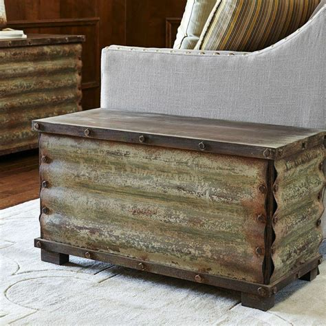4.0 out of 5 stars 17. New Rustic Corrugated Metal Solid Wood Storage Chest Trunk Bed Box Coffee Table | eBay