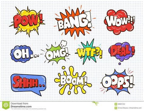 Comic Sound Speech Effect Bubbles Set Isolated White