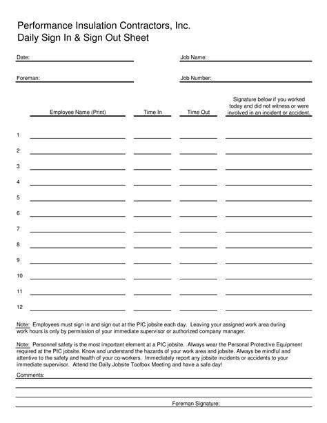 blank employee sign  sheet templates