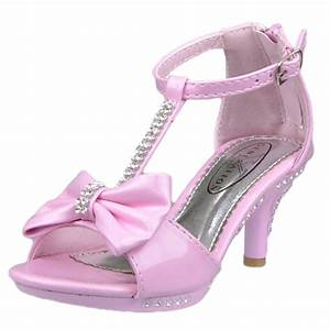 Girl's Evening T-Strap Bow Rhinestone High Heel Sandals ...