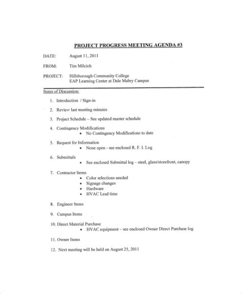 project meeting agenda templates
