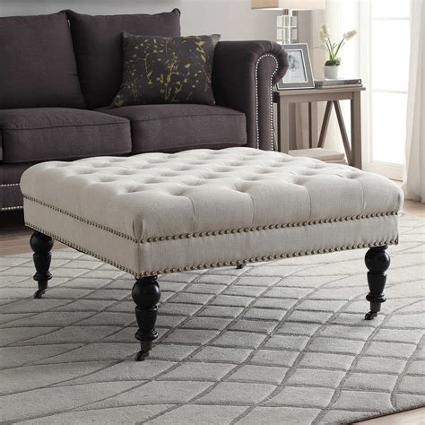 square tufted ottoman linon isabelle tufted square ottoman ottomans at hayneedle