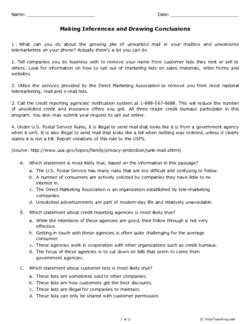 making inferences and drawing conclusions grade 7 free printable tests and worksheets