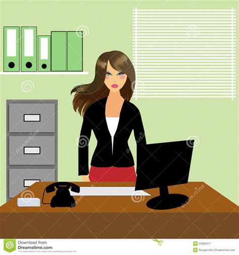 bureau de secretaire secrétaire ou réceptionniste de bureau illustration stock