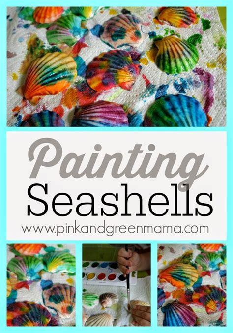 hawaiian craft ideas pink and green kid s craft painted sea shells 2162