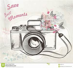 Cute Hand Drawn Vintage Camera Vector Illustration Stock