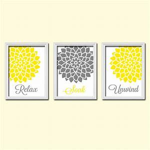 Yellow gray bathroom wall art canvas or prints