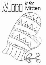 Letter Coloring Mitten Mittens Preschool Printable Clipart Alphabet Monster Pattern Sheets Sheet Colouring Crafts Calendar Jawar Clip Dragondekomodo Drukuj sketch template