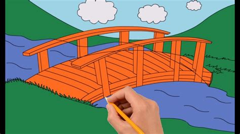How to Draw a Bridge Over a River Step by Step Easy - YouTube