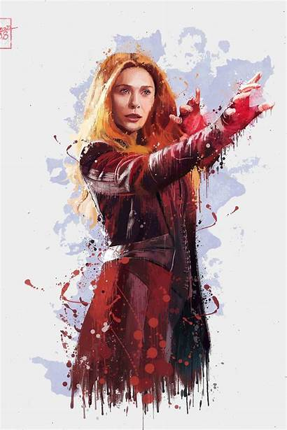 Witch Scarlet Avengers Infinity War Artwork Background