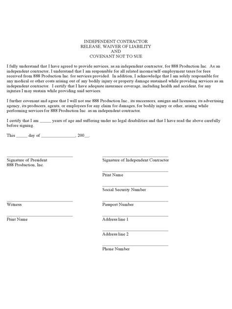 contractor liability waiver form   templates