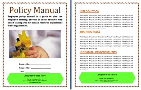 office work manual template  printable word templates