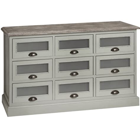 Lyon Shabby Chic Furniture Grey Bedside Table Chest Of