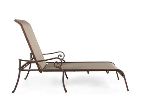chaise alu roll arm aluminum sling chaise lounge in brown mathis