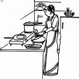 Cooking Coloring Clip Clipart Cook Cliparts Housewife Indian Pages раскраски Colouring Woman Beautician картинки Library Popular sketch template